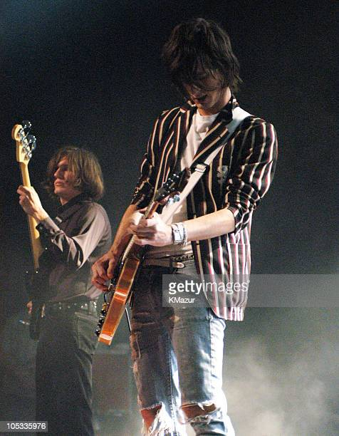 Nikolai Fraiture and Nick Valensi of The Strokes during The Strokes in Concert in New York City at The Theater at Madison Square Garden in New York...