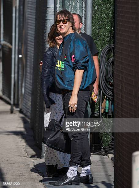 Nikolai Fraiture of the music group 'The Strokes' is seen at 'Jimmy Kimmel Live' on July 26 2016 in Los Angeles California