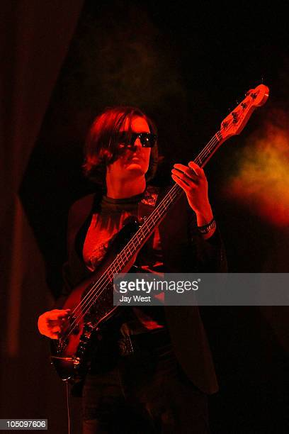 Nikolai Fraiture of The Strokes performs at Austin City Limits Music Festival day one at Zilker Park on October 8 2010 in Austin Texas