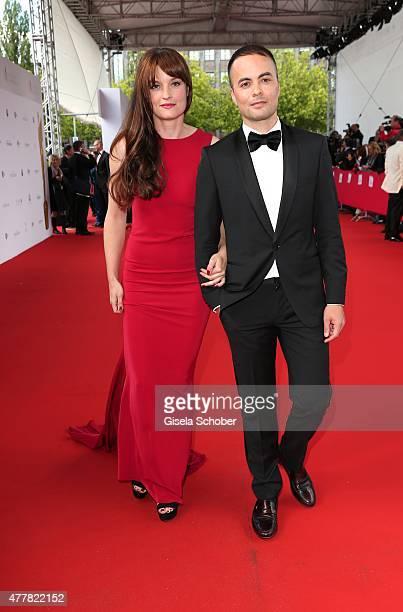 Nikolai Kinski and his girlfriend Ina Paule Klink arrive for the German Film Award 2015 Lola at Messe Berlin on June 19 2015 in Berlin Germany