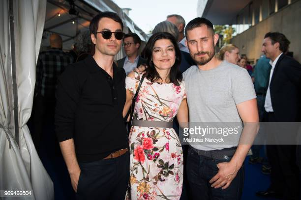 Nikolai Kinski Jasmin Tabatabai and Clemens Schick attend the Summer Party of the German Producers Alliance on June 7 2018 in Berlin Germany