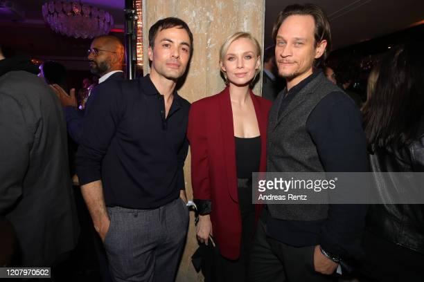 Nikolai Kinski Masha Tokareva and Vinzenz Kiefer attend the Studio Babelsberg Night X Canada Goose on the occasion of the 70th Berlinale at Soho...