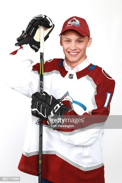 Nikolai Kovalenko poses after being selected 171st by the Colorado Avalanche during the 2018 NHL Draft at American Airlines Center on June 23 2018 in...
