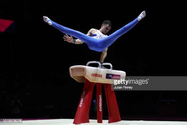 Nikolai Kuksenkov of Russia competes in Pommel Horse during the Men's Gymnastics Final on Day Eleven of the European Championships Glasgow 2018 at...