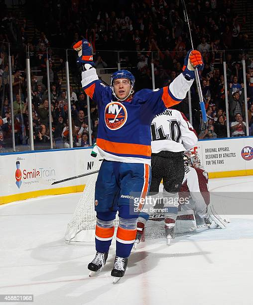 Nikolai Kulemin of the New York Islanders celebrates his shorthanded goal at 1132 of the second period against the Colorado Avalanche at the Nassau...