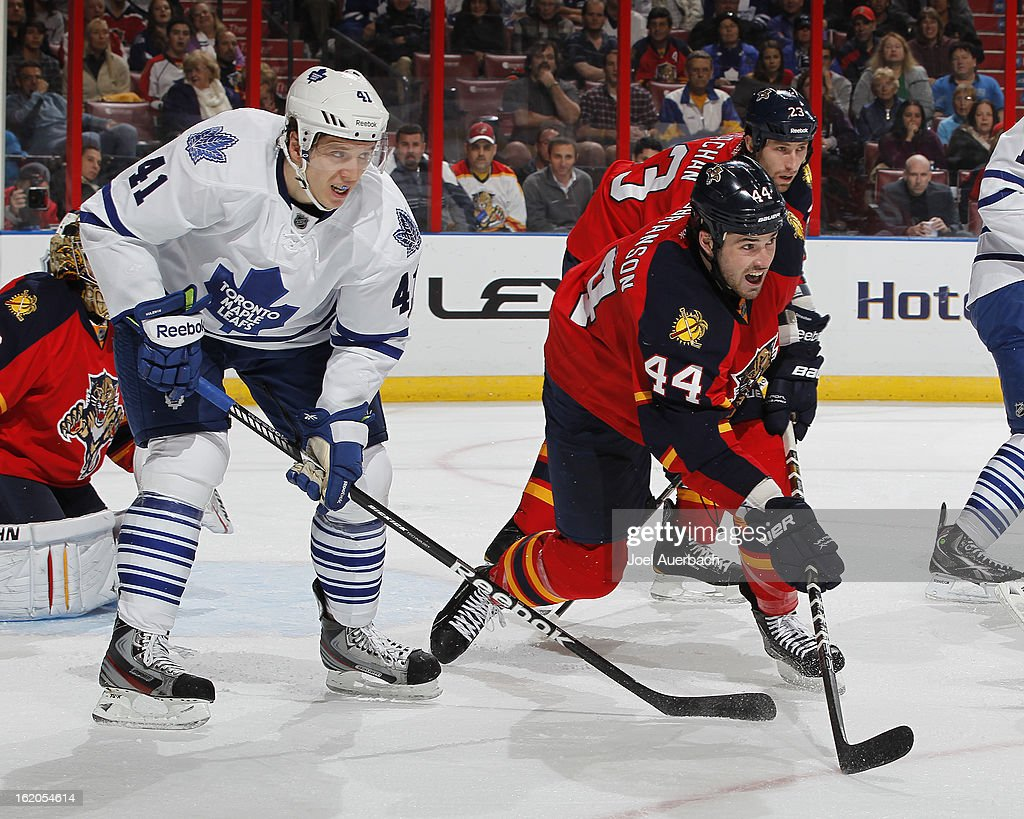 Nikolai Kulemin #41 of the Toronto Maple Leafs wits for tip in attempt as Erik Gudbranson #44 of the Florida Panthers helps defend the net at the BB&T Center on February 18, 2013 in Sunrise, Florida. The Maple Leafs defeated the Panthers 3-0.