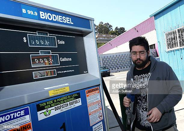 Nikolai Kunz prepares to pump biodiesel into his car at Dogpatch Biofuels on March 22 2013 in San Francisco California According to a report by San...
