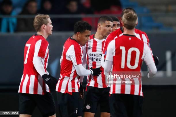 Nikolai Laursen of PSV U23 Donyell Malen of PSV U23 Armando Obispo of PSV U23 during the Dutch Jupiler League match between PSV U23 v Fortuna Sittard...