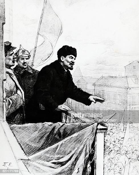 Nikolai Lenin pseudonym of Vladimir Ilyich Ulyanov giving a speech from the balcony of the Mossoveta theatre in Moscow in front of the workers and...
