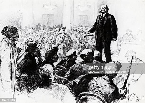 Nikolai Lenin pseudonym of Vladimir Ilyich Ulyanov giving a speech to the Red Guards at the Smolny Institute in Petrograd in the early days of...