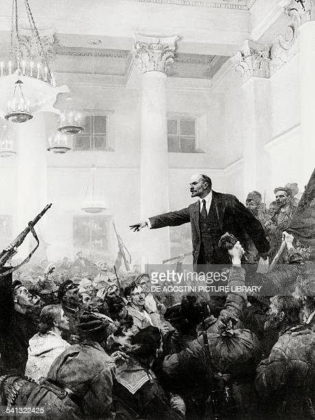 Nikolai Lenin pseudonym of Vladimir Ilyich Ulyanov proclaiming Soviet rule to the Second All Russia Congress of Soviets October 25 from a painting by...
