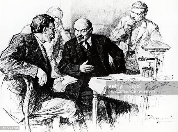 Nikolai Lenin pseudonym of Vladimir Ilyich Ulyanov talking with reporters during the drafting of Pravda in 1917 drawing by Pyotr Vasilievich Vasiliev...