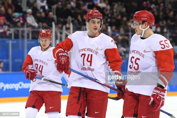 Nikolai Prokhorkin of Olympic Athlete from Russia looks on with teammates in the second period against Czech Republic during the Men's Play-offs...