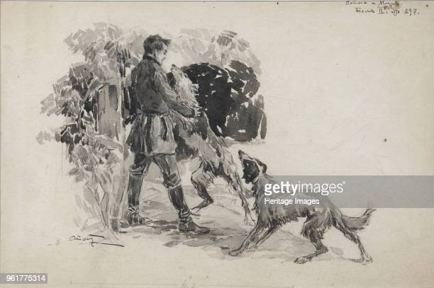 Nikolai Rostov at the hunt. Illustration for the novel War and Peace by Leo Tolstoy, 1911. Found in the Collection of State Museum of Leo Tolstoy,...