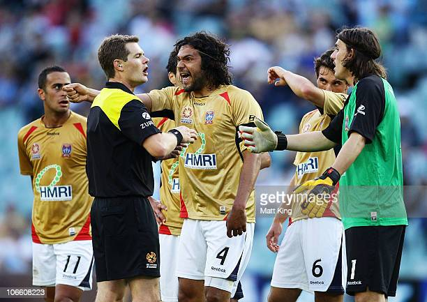 Nikolai ToporStanley of the Jets argues with referee Chris Beath after the goal to Bruno Cazarine of Sydney during the round 13 ALeague match between...