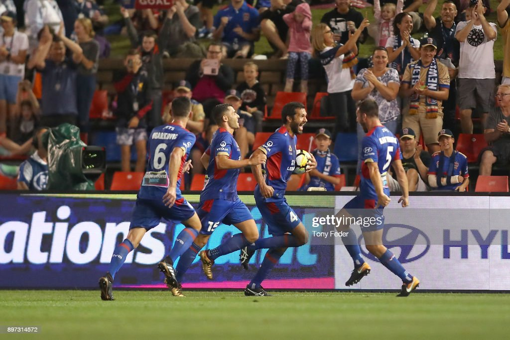 Nikolai Topor-Stanley of the Jets celebrates with team mates during the round 12 A-League match between the Newcastle Jets and the Western Sydney Wanderers at McDonald Jones Stadium on December 22, 2017 in Newcastle, Australia.