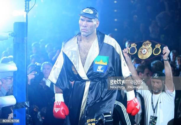 Nikolai Valuev makes his way into the ring at the Nuremberg Arena, Germany