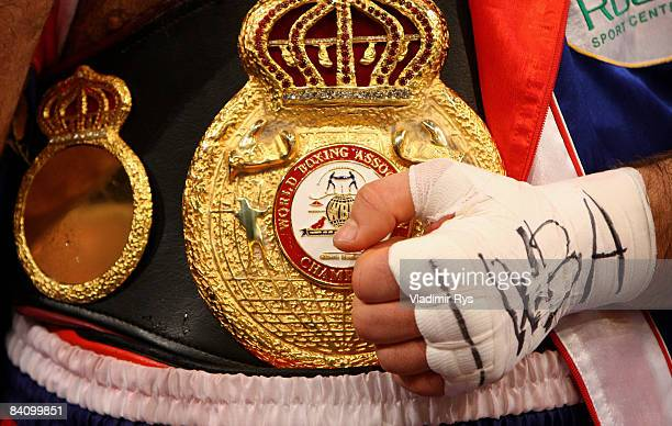 Nikolai Valuev of Russia holds his belt after his win over Evander Holyfield of the USA at the WBA World Championship fight at the Hallenstadion on...