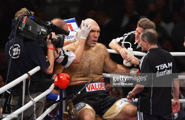 Nikolai Valuev sits in the blue corner during the WBA world heavyweight championship fight against David Haye of England on November 7 2009 at the...