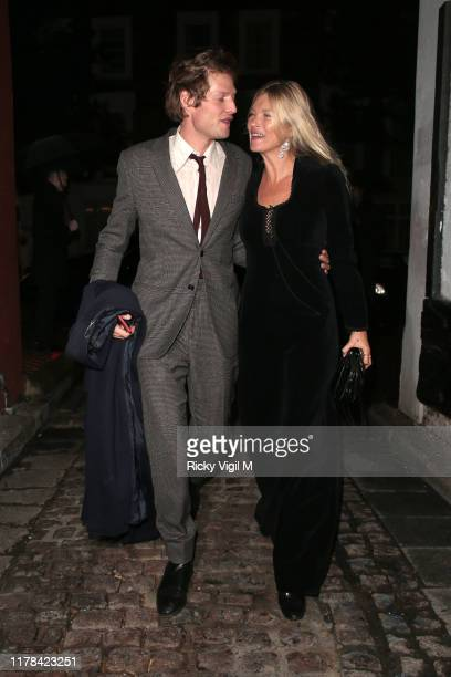 Nikolai von Bismarck and Kate Moss seen attending The Dior Sessions - book launch afterparty on October 01, 2019 in London, England.