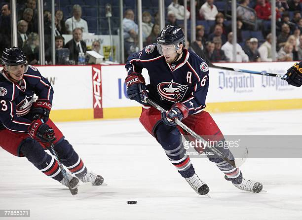 Nikolai Zherdev of the Columbus Blue Jackets passes the puck off to Rick Nash of the Blue Jackets on November 4 2007 at Nationwide Arena in Columbus...