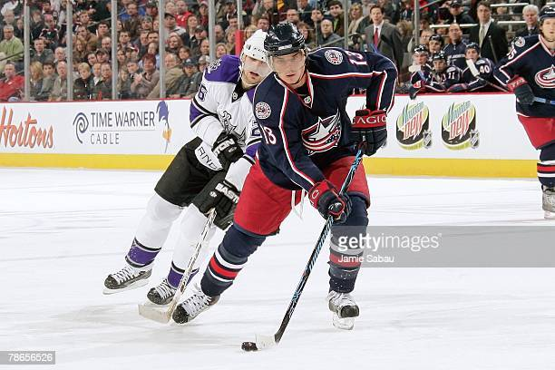 Nikolai Zherdev of the Columbus Blue Jackets skates with the puck against the Los Angeles Kings on December 21, 2007 at Nationwide Arena in Columbus,...