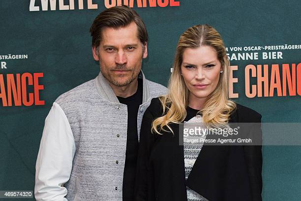 Nikolaj CosterWalda and May Anderson attend a photocall for the film 'A Second Chance' at Regent Hotel on April 13 2015 in Berlin Germany