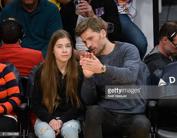 Nikolaj CosterWaldau and Filippa CosterWaldau attend a basketball game between the San Antonio Spurs and the Los Angeles Lakers at Staples Center on...