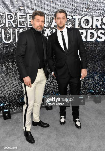 Nikolaj Coster-Waldau and guest attend the 26th Annual Screen Actors Guild Awards at The Shrine Auditorium on January 19, 2020 in Los Angeles,...