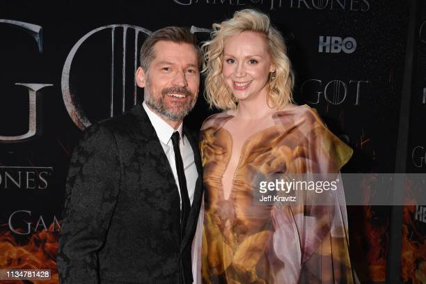 Nikolaj CosterWaldau and Gwendoline Christie attend the Game Of Thrones Season 8 NY Premiere on April 3 2019 in New York City