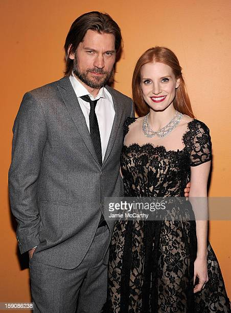 Nikolaj CosterWaldau and Jessica Chastain attend the 'Mama' New York Screening at Landmark's Sunshine Cinema on January 7 2013 in New York City