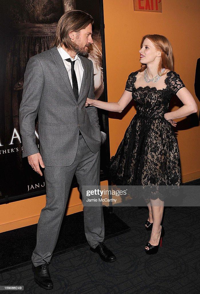 Nikolaj Coster-Waldau and Jessica Chastain attend the 'Mama' New York Screening at Landmark's Sunshine Cinema on January 7, 2013 in New York City.
