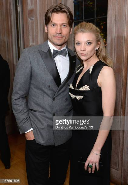 Nikolaj CosterWaldau and Natalie Dormer attend the Bloomberg Vanity Fair cocktail reception following the 2013 WHCA Dinner at the residence of the...