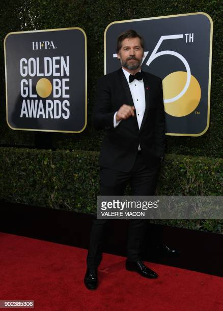 Nikolaj CosterWaldau arrives for the 75th Golden Globe Awards on January 7 in Beverly Hills California / AFP PHOTO / VALERIE MACON