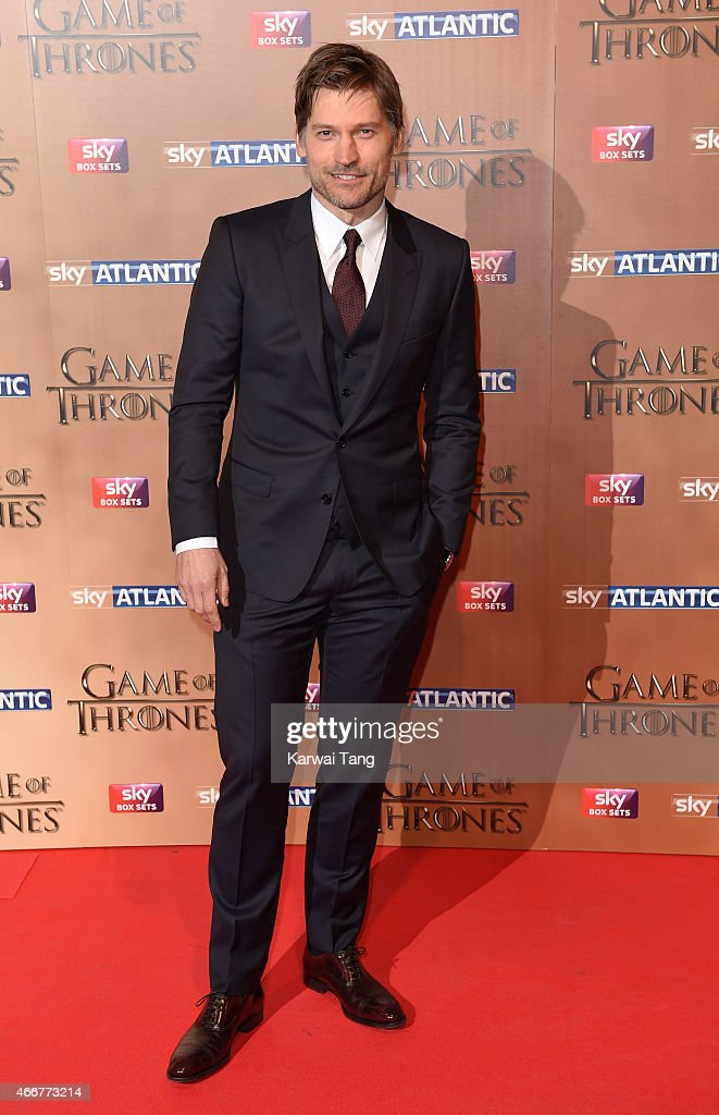 Nikolaj Coster-Waldau arrives for the world premiere of Game of Thrones Season 5 at Tower of London on March 18, 2015 in London, England.