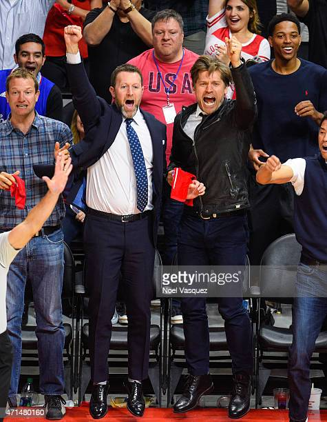 Nikolaj CosterWaldau attends a basketball game between the San Antonio Spurs and the Los Angeles Clippers at Staples Center on April 28 2015 in Los...