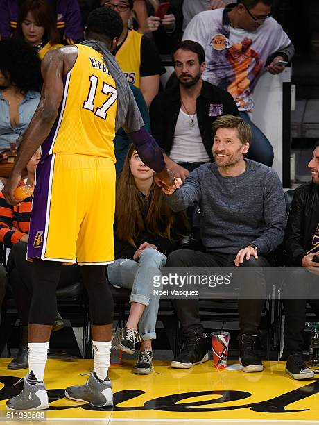Nikolaj CosterWaldau attends a basketball game between the San Antonio Spurs and the Los Angeles Lakers at Staples Center on February 19 2016 in Los...