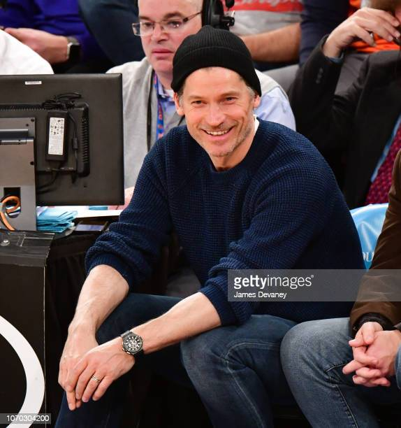 Nikolaj Coster-Waldau attends Brooklyn Nets v New York Knicks game at Madison Square Garden on December 8, 2018 in New York City.