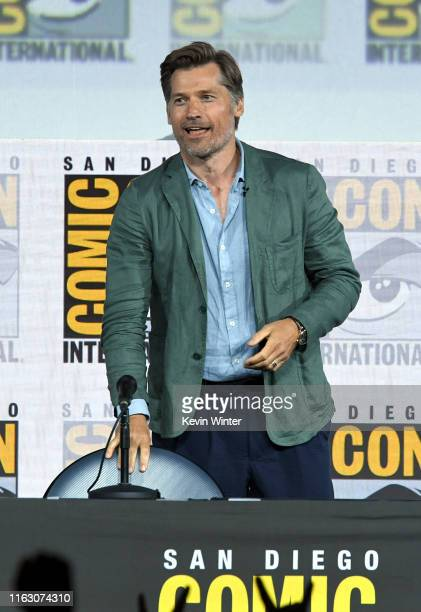 "Nikolaj Coster-Waldau speaks at the ""Game Of Thrones"" Panel And Q&A during 2019 Comic-Con International at San Diego Convention Center on July 19,..."