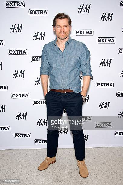 "Nikolaj Coster-Waldau visits ""Extra"" at their New York Studios at H&M in Times Square on April 10, 2015 in New York City."