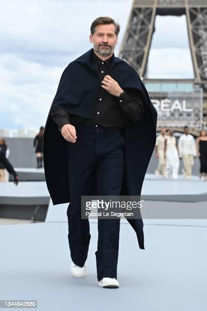 "Nikolaj Coster-Waldau walks the runway during ""Le Defile L'Oreal Paris 2021"" as part of Paris Fashion Week on October 03, 2021 in Paris, France."