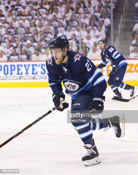 Nikolaj Ehlers of the Winnipeg Jets follows the play down the ice during first period action against the Nashville Predators in Game Four of the...