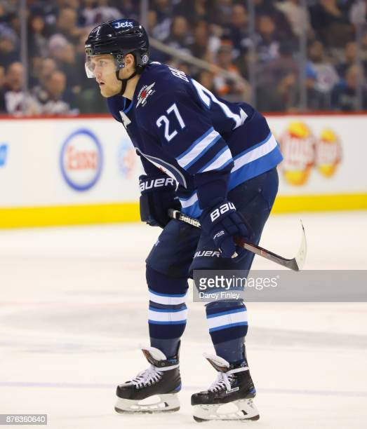 Nikolaj Ehlers of the Winnipeg Jets gets set for a first period faceoff against the Philadelphia Flyers at the Bell MTS Place on November 16 2017 in...