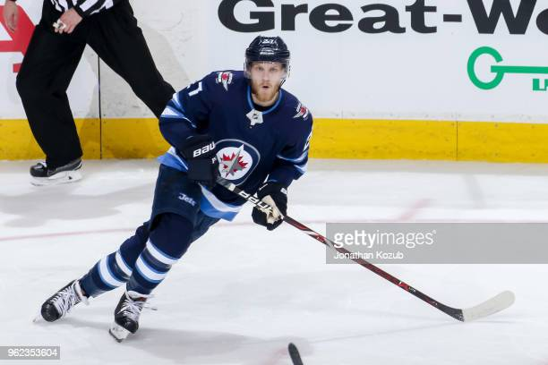 Nikolaj Ehlers of the Winnipeg Jets keeps an eye on the play during second period action against the Vegas Golden Knights in Game Five of the Western...