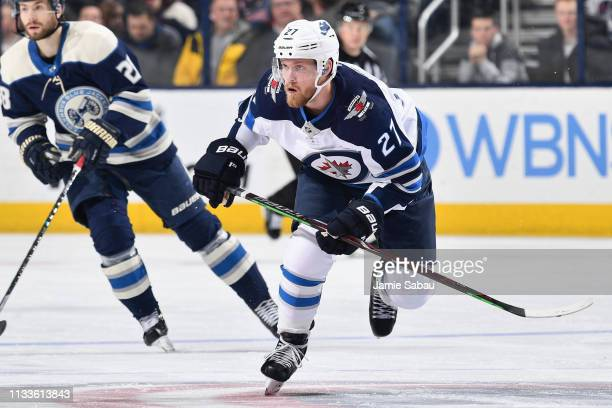 Nikolaj Ehlers of the Winnipeg Jets skates against the Columbus Blue Jackets on March 3, 2019 at Nationwide Arena in Columbus, Ohio.
