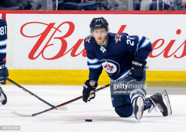 Nikolaj Ehlers of the Winnipeg Jets takes part in the pregame warm up prior to NHL action against the Nashville Predators in Game Six of the Western...