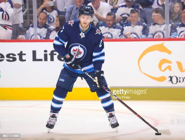 Nikolaj Ehlers of the Winnipeg Jets takes part in the pregame warm up prior to NHL action against the Vegas Golden Knights in Game Five of the...
