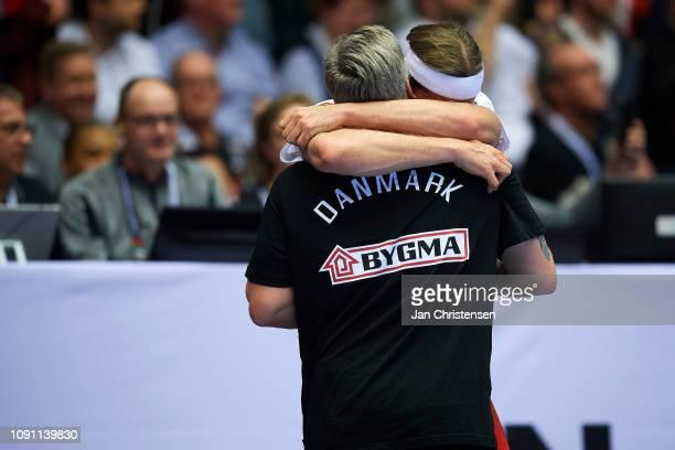 Nikolaj Jacobsen, head coach of Denmark and Mikkel Hansen of Denmark celebrate during the IHF Men's World Championships Handball Final between...