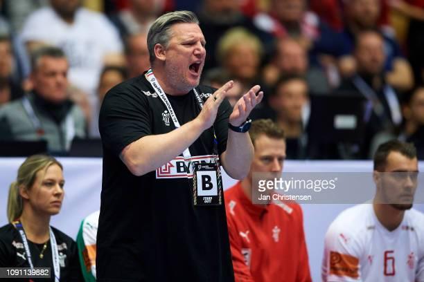 Nikolaj Jacobsen, head coach of Denmark giving instructions from the bench during the IHF Men's World Championships Handball Final between Denmark...