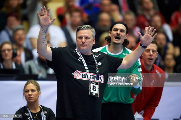 Nikolaj Jacobsen, head coach of Denmark looks on from the bench during during the IHF Men's World Championships Handball Final between Denmark and...